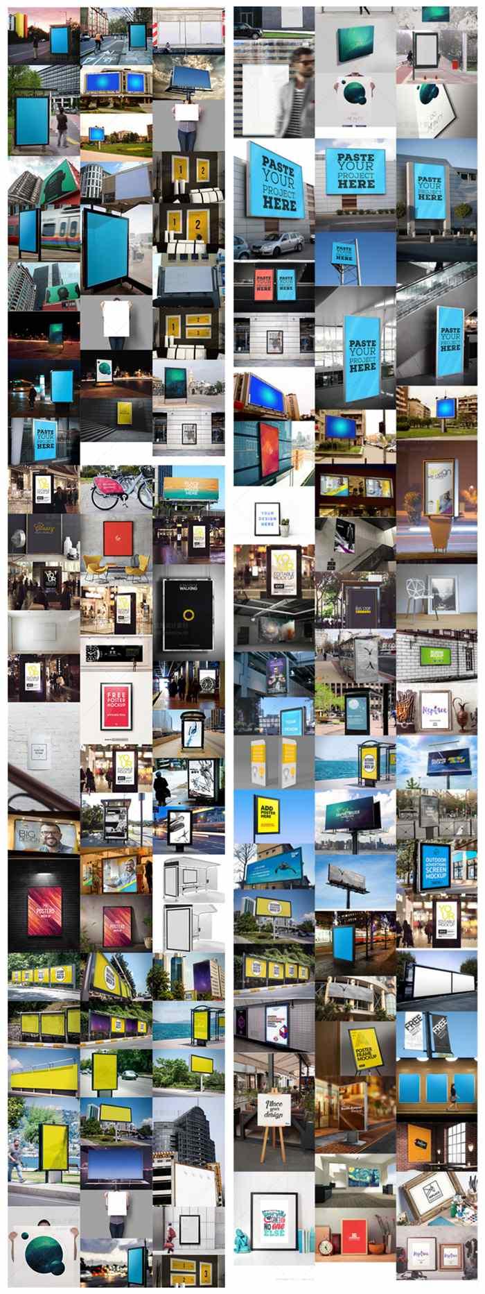 海报样机户外广告牌路灯箱公交站效果图VI智能贴图PSD设计素材插图