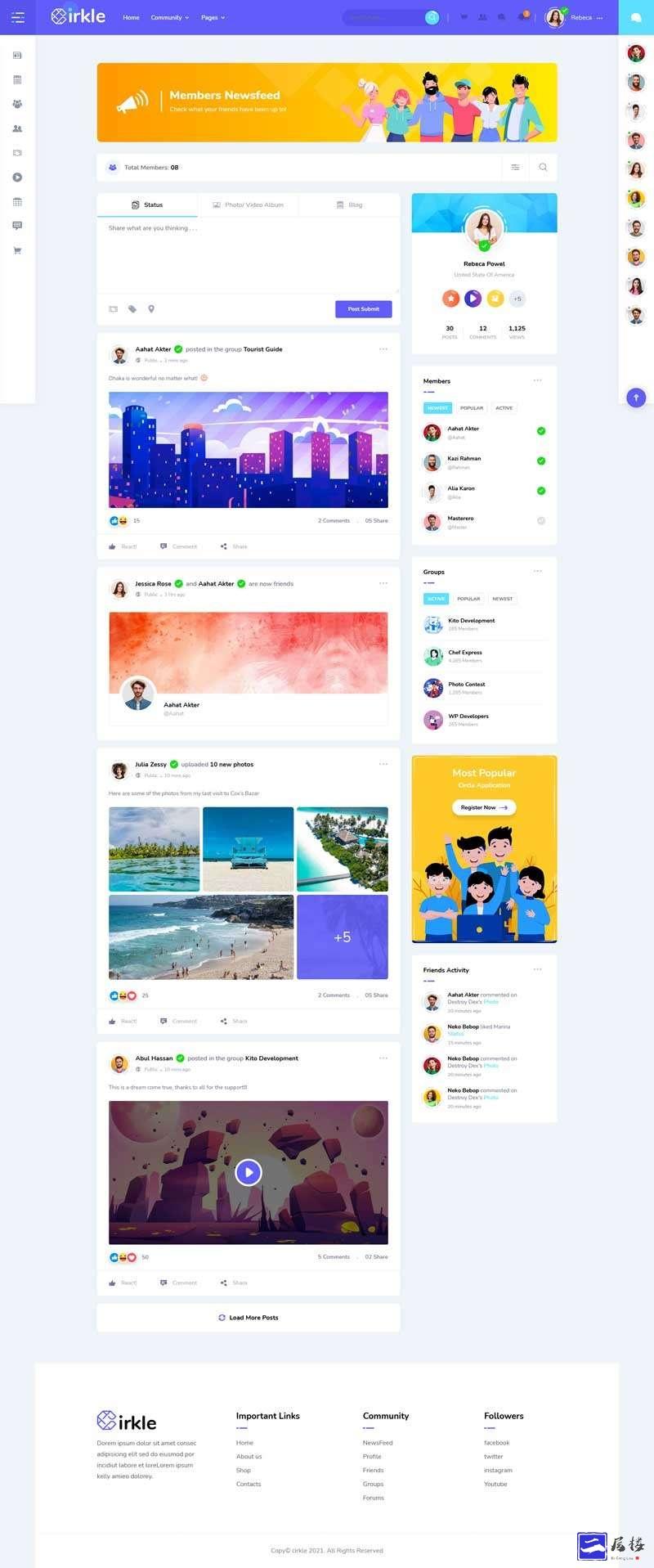 社交社区博客网站HTML模板插图