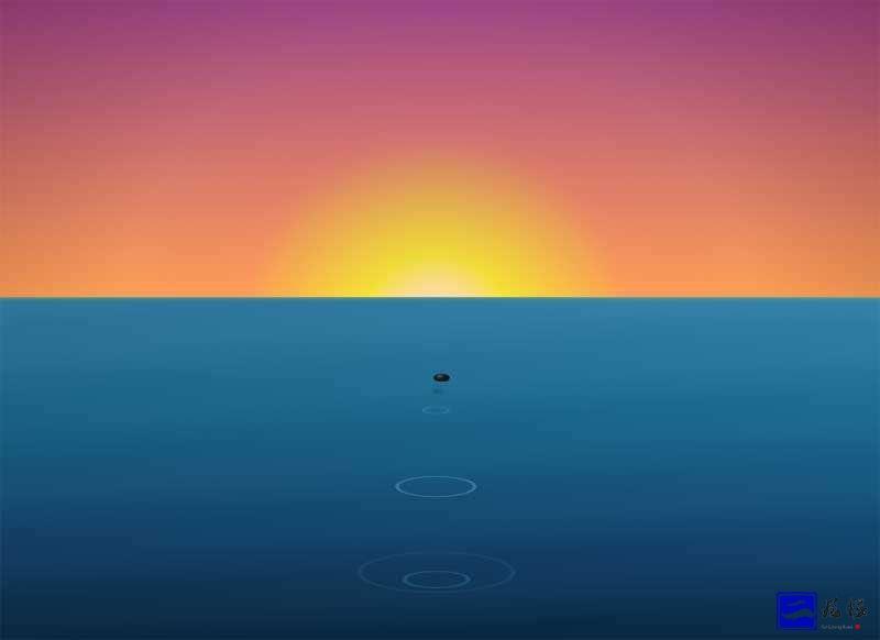 css3绘制晚霞落日下的海面上打水漂石头动画场景特效。插图