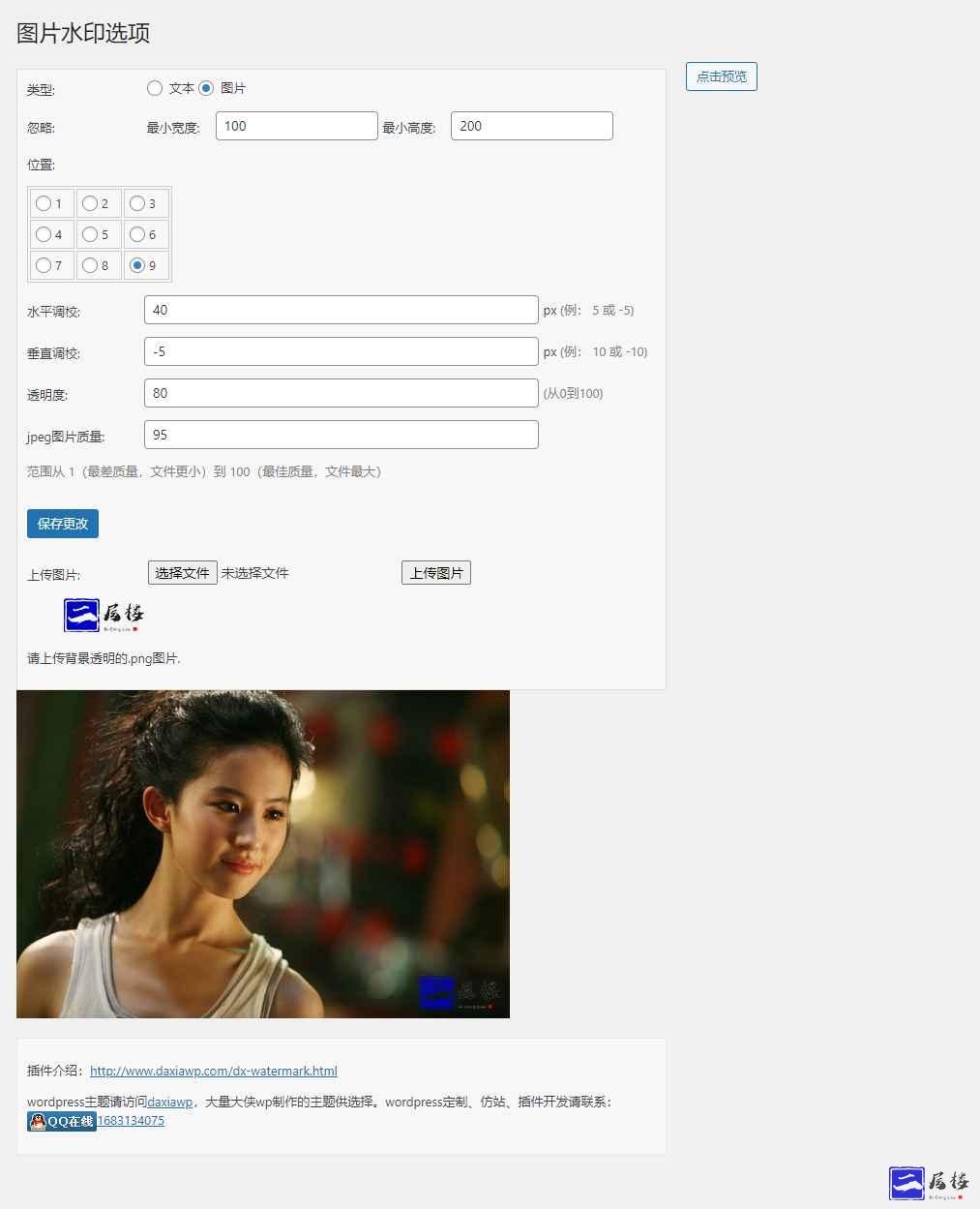 WordPress主题DX-Watermark图片自动添加水印插件插图