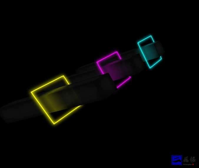 三个霓虹灯方块动画特效插图
