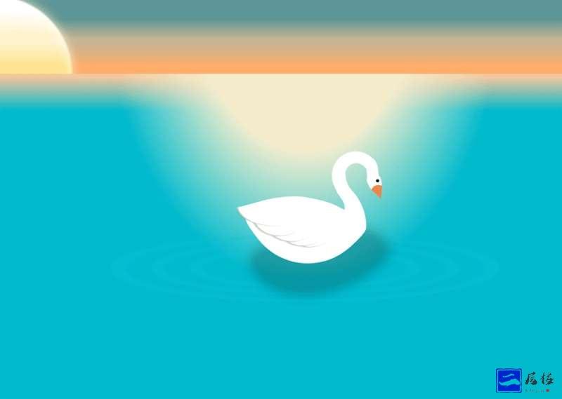 夕阳下的天鹅湖图形特效源码插图