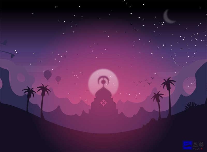 卡通的宫殿星空夜景ui源码素材插图
