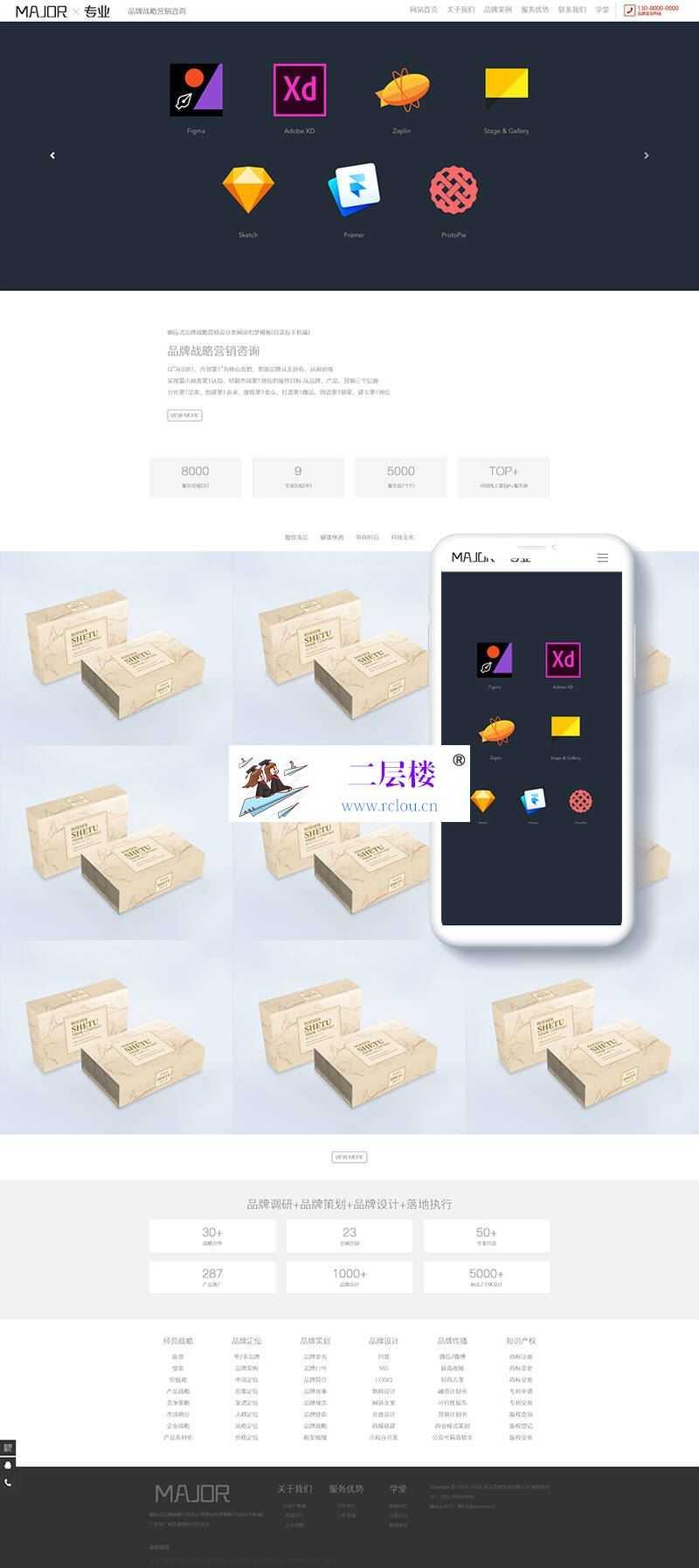 织梦响应式品牌战略营销设计类网站织梦模板(自适应手机端)_二层楼源码