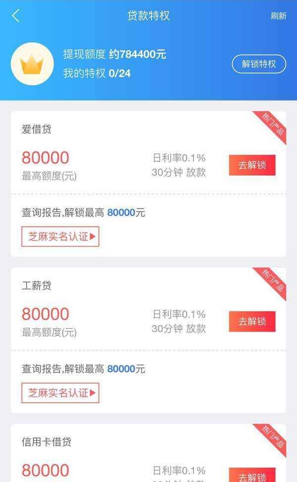 金融app贷款特权页面模板