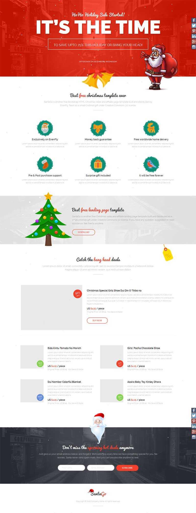 html5国外商品促销圣诞节专题模板下载