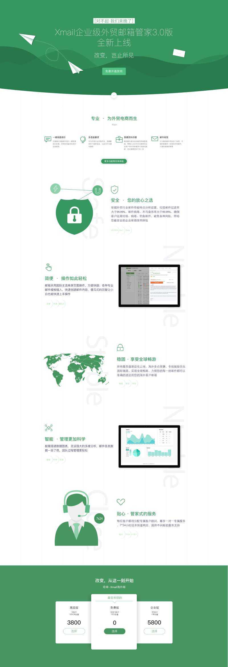 绿色大气的邮箱推广专题介绍页面psd模板