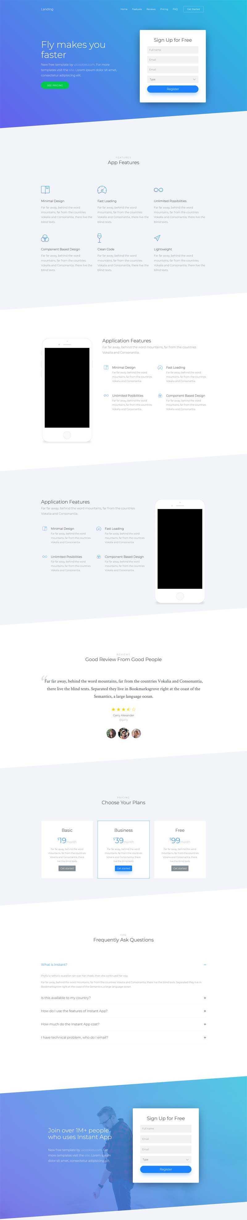 蓝色简洁的app应用介绍注册页面模板
