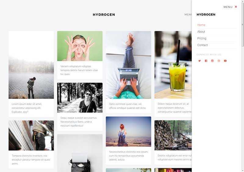 简洁实用的个人图片类展示网站瀑布流模板