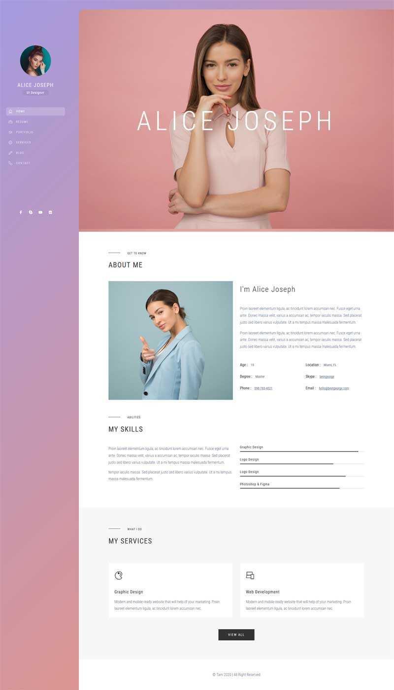创意的ui设计师个人简历网页模板