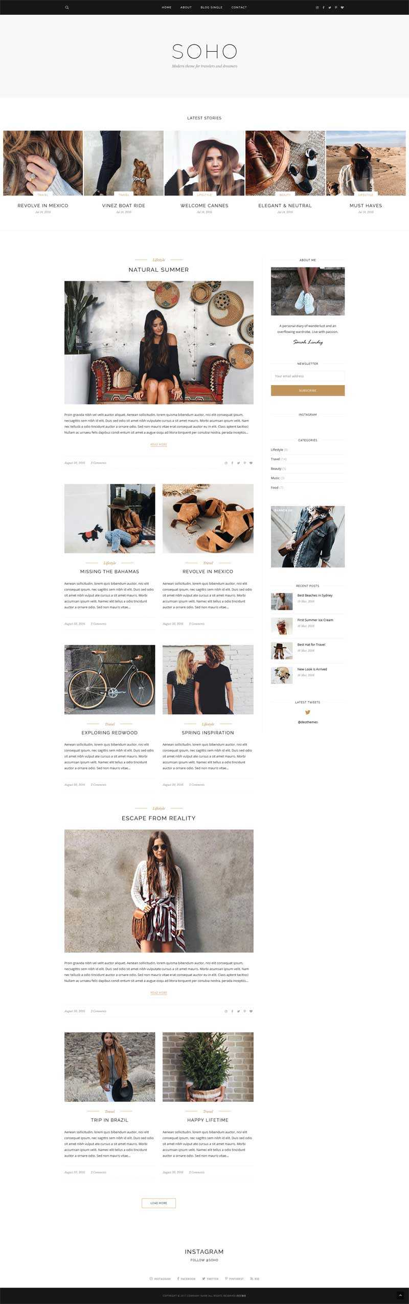 简单的bootstrap个人图片博客网站响应式模板