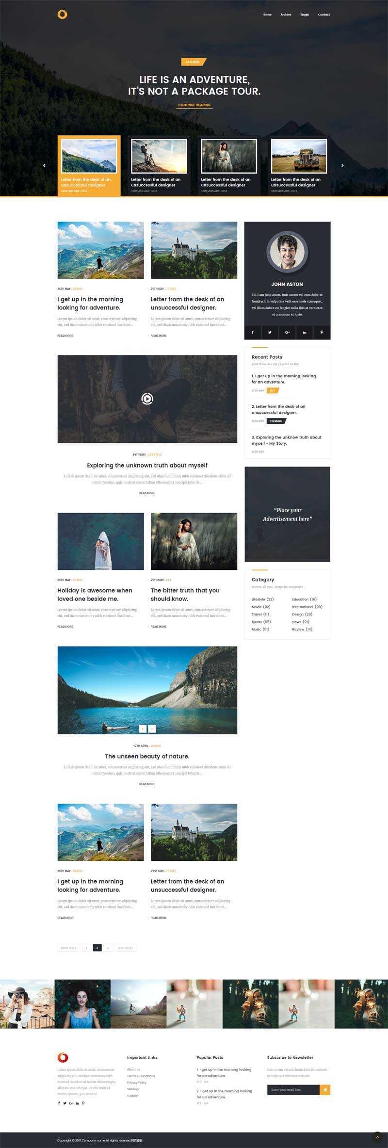 大气的生活旅行博客网站html5模板