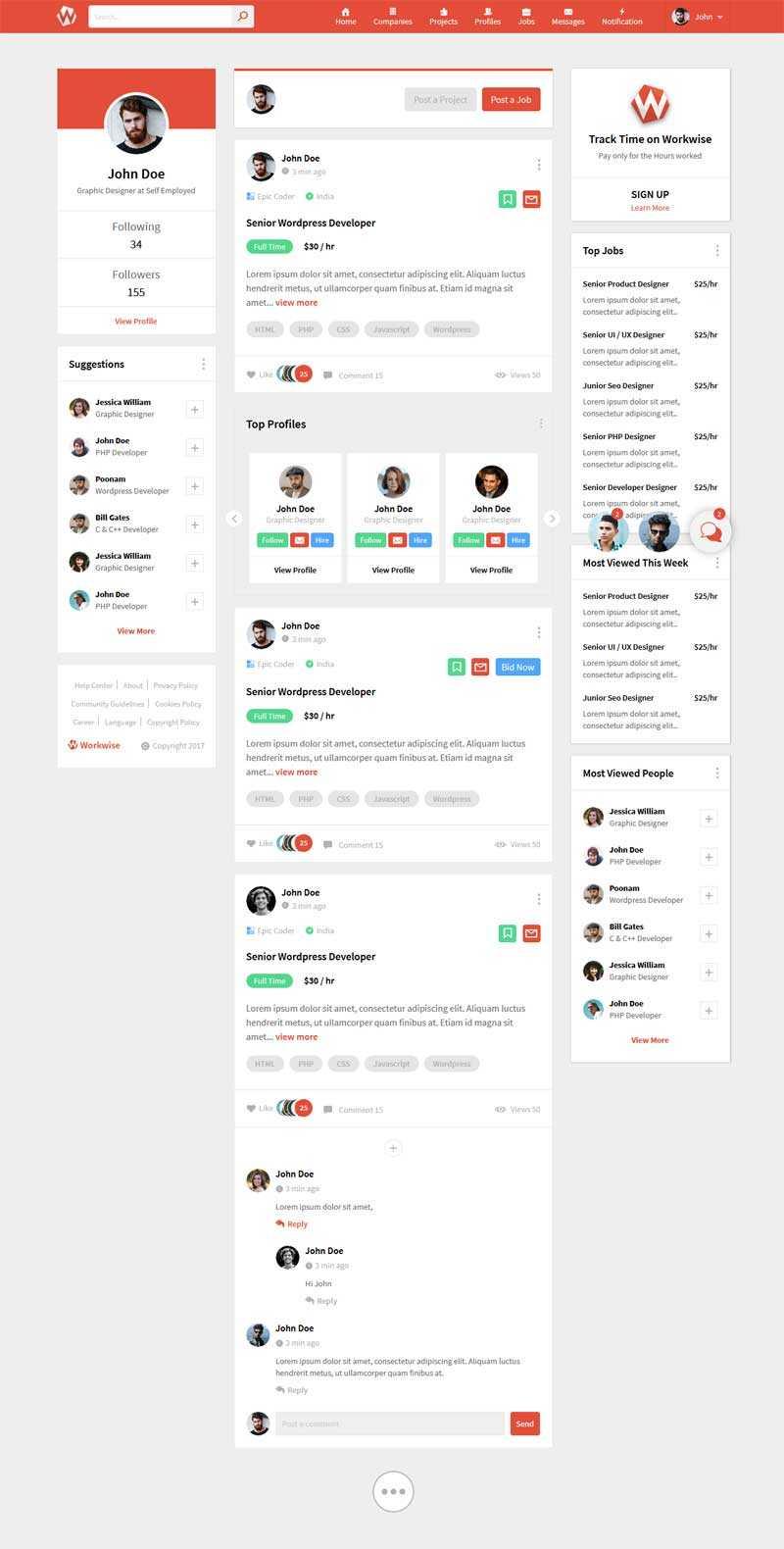红色的微博社交平台HTML模板