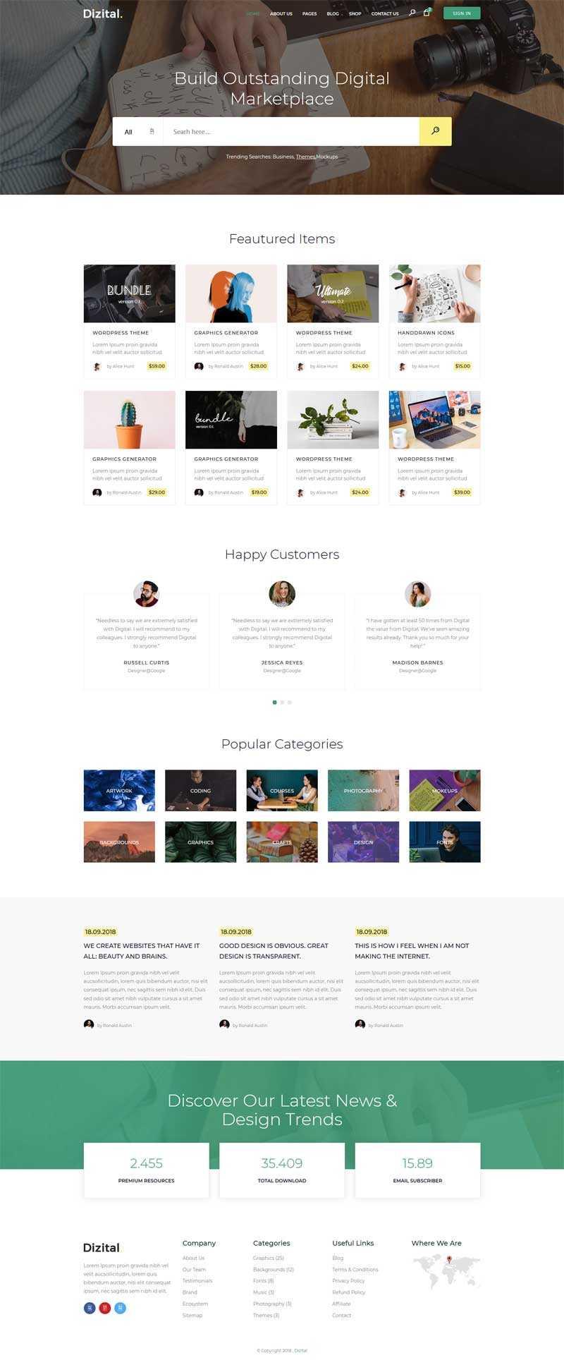 Bootstrap图片设计素材下载网站模板