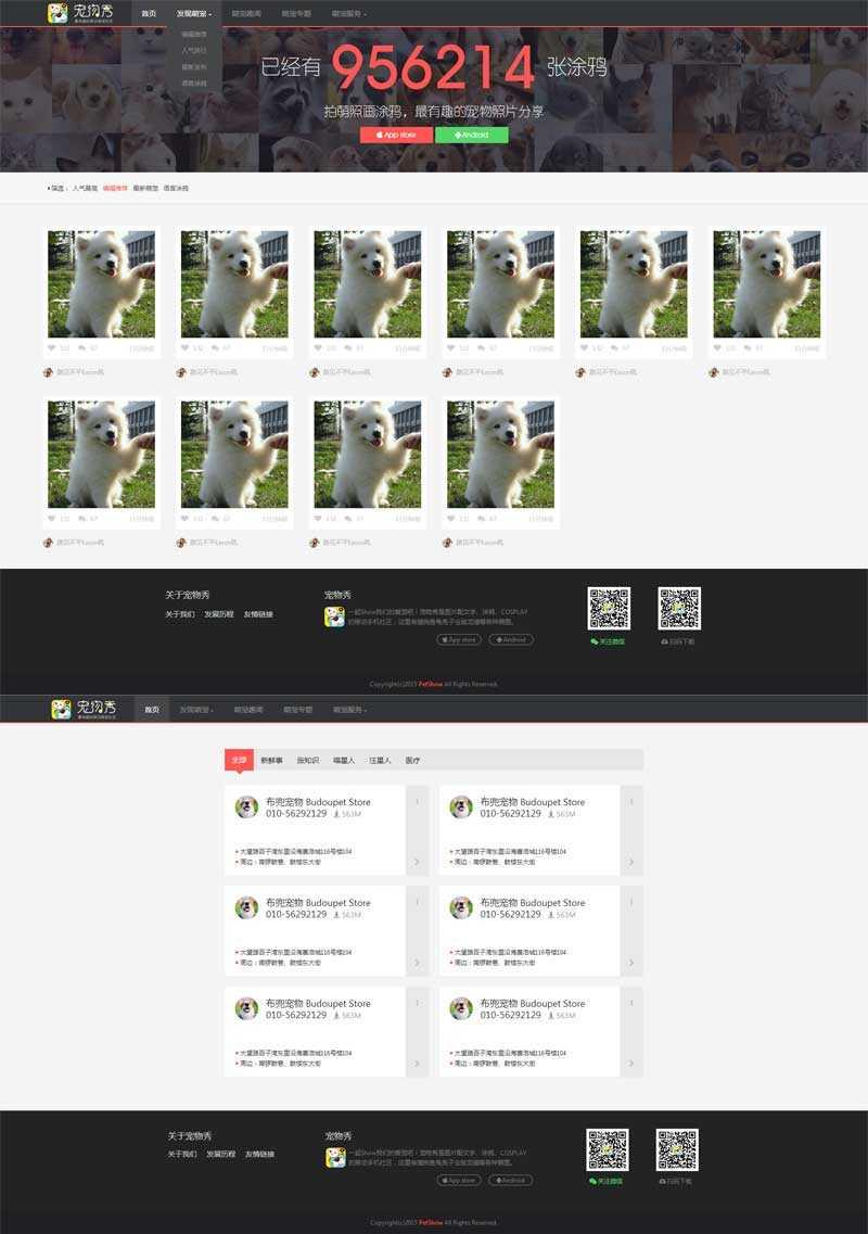 黑色的宠物交流图片分享网站模板html源码