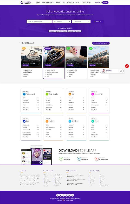 紫色的综合分类信息网站模板
