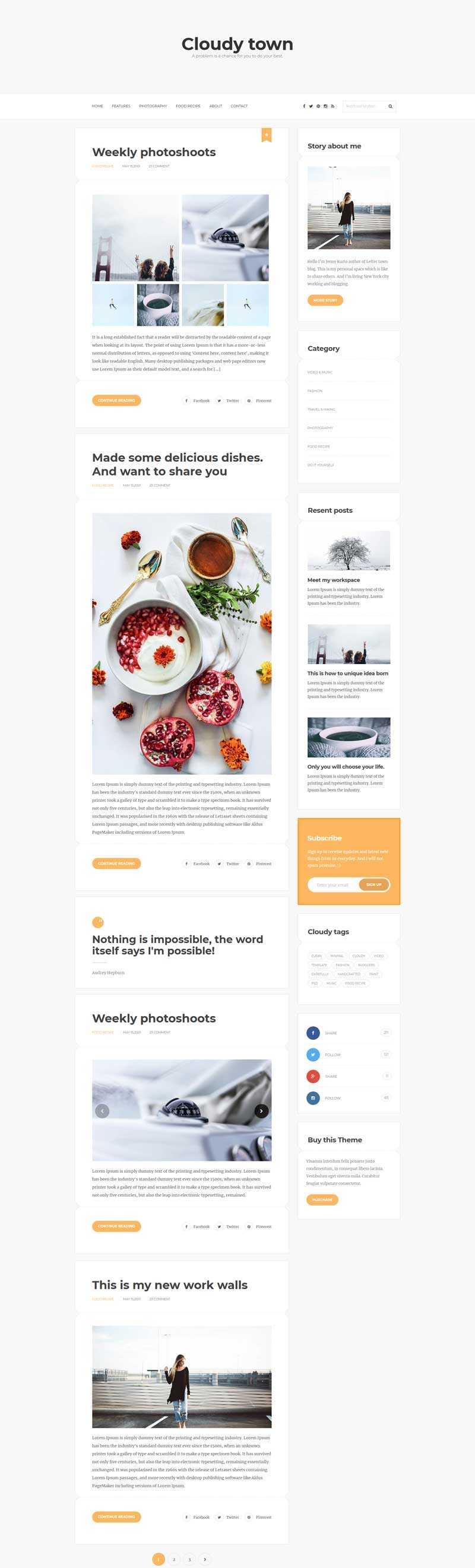 简洁的生活记录博客个人网站模板