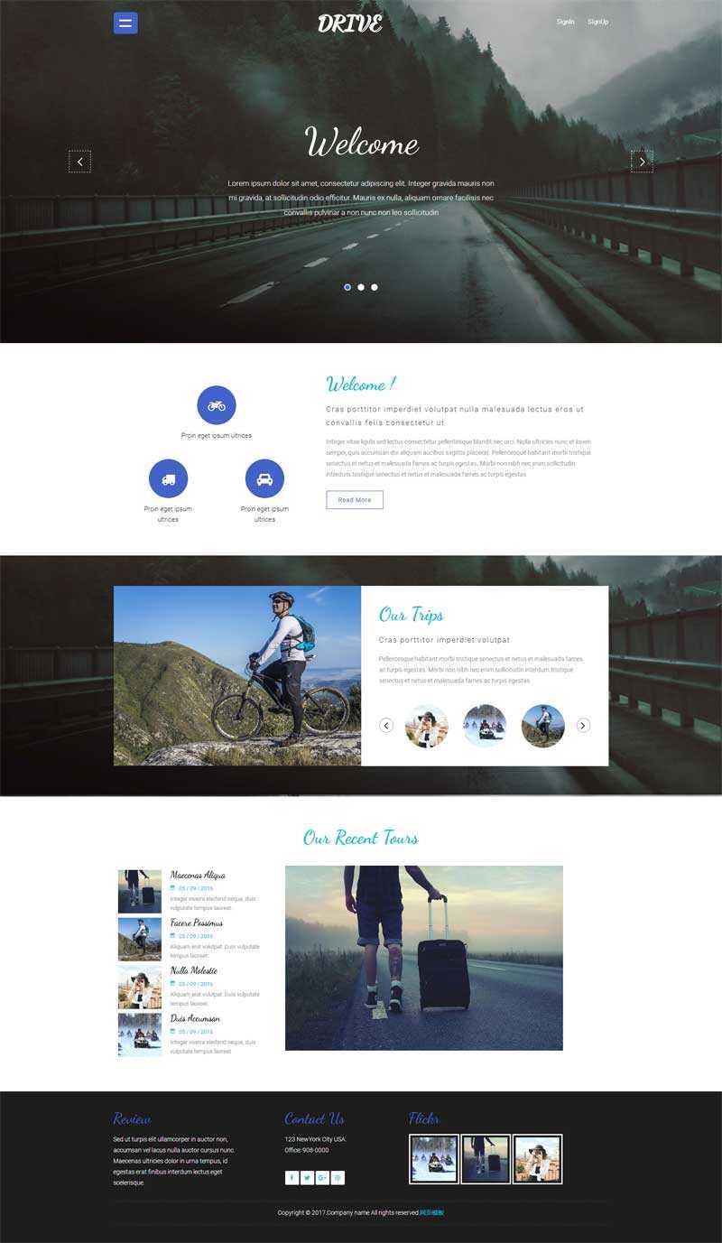 简单的户外运动旅行博客网站模板