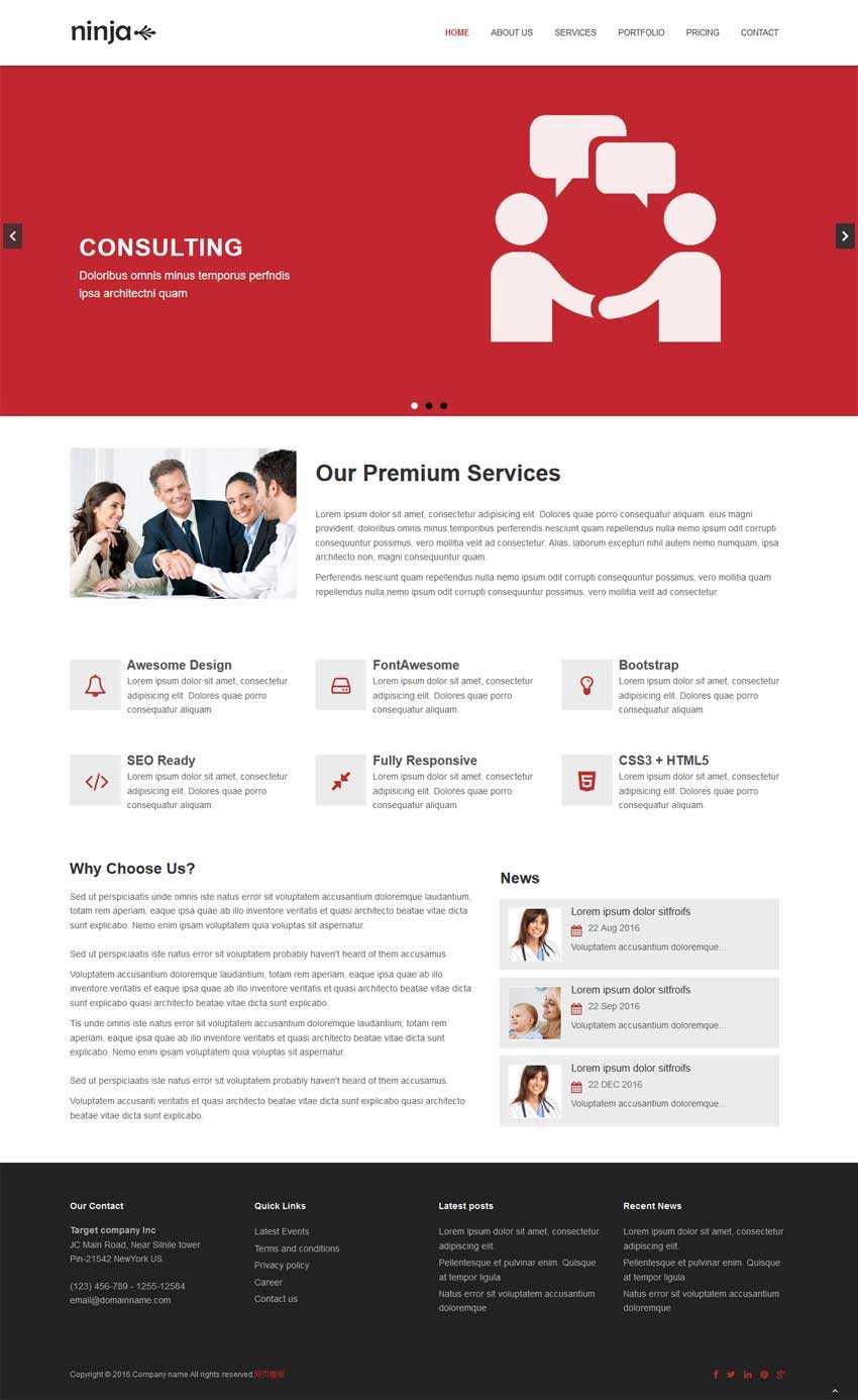 简洁的商业咨询合作公司网站模板html下载