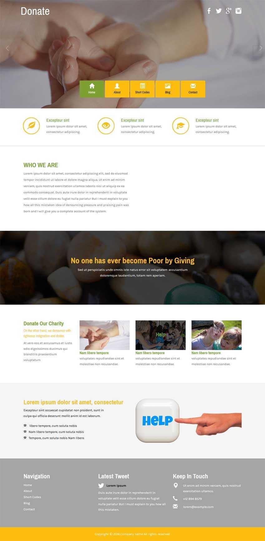 宽屏的爱心互助公益网站html5模板下载
