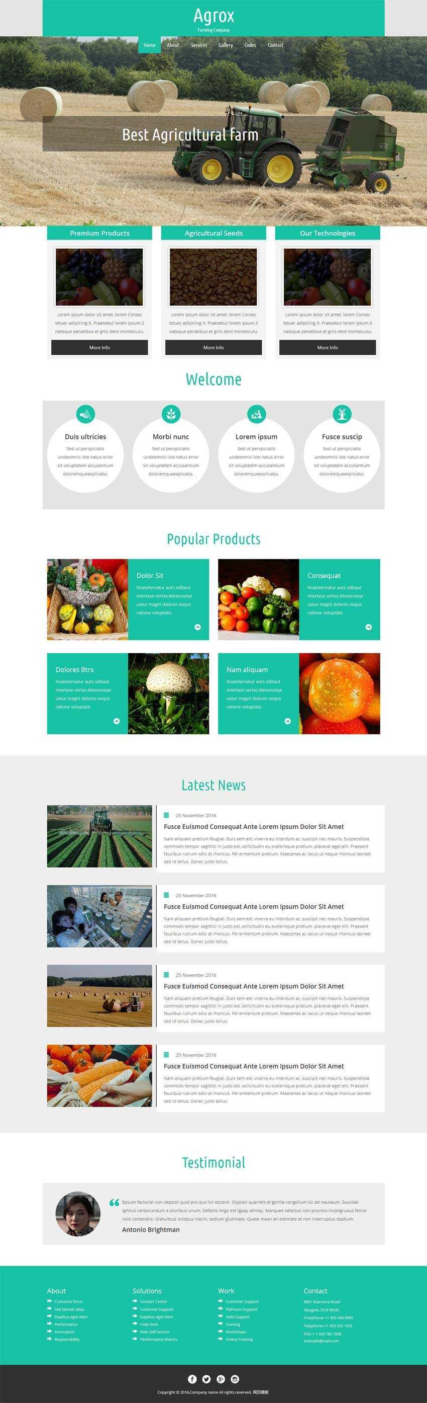 绿色的农业生产公司网站html5动画模板