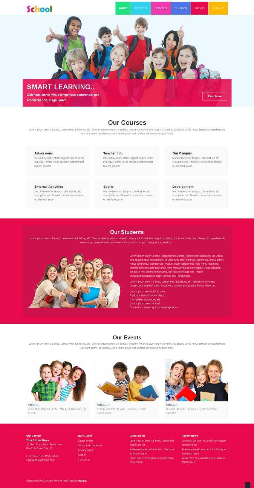 红色简洁的儿童学校教育网站静态模板下载