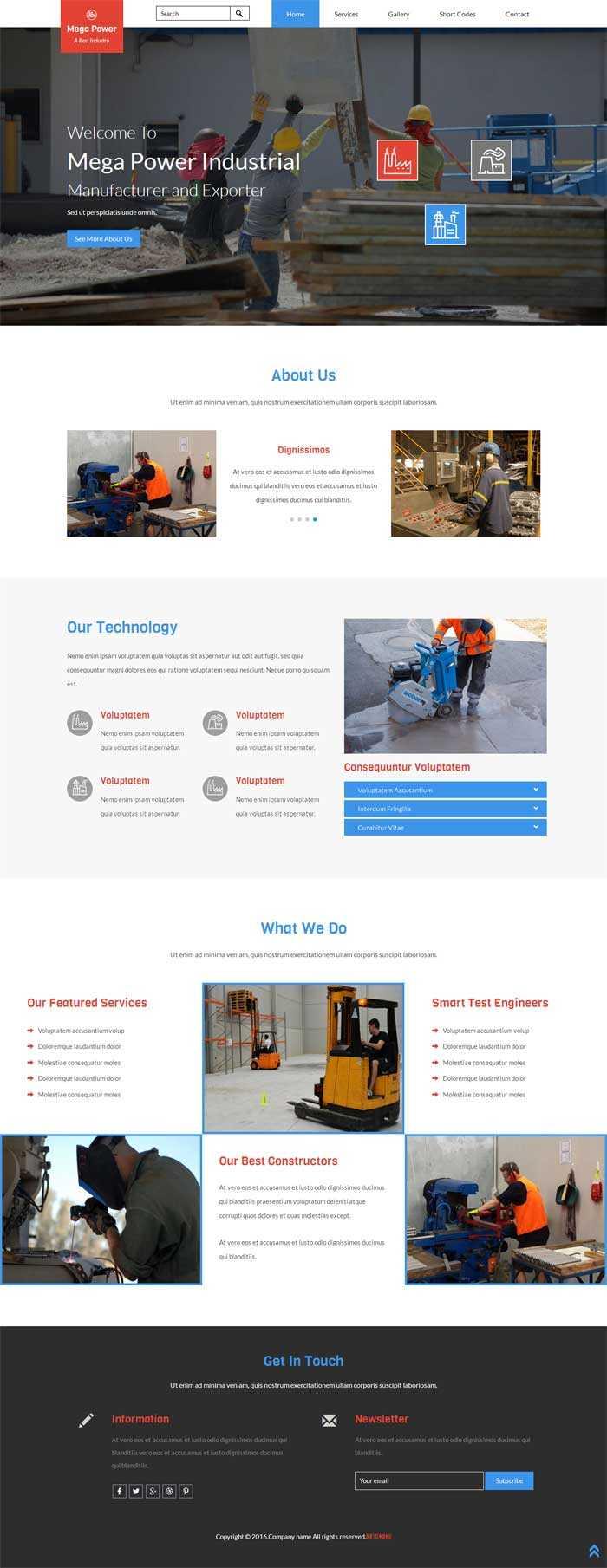 大气宽屏的工程建设公司网站静态模板