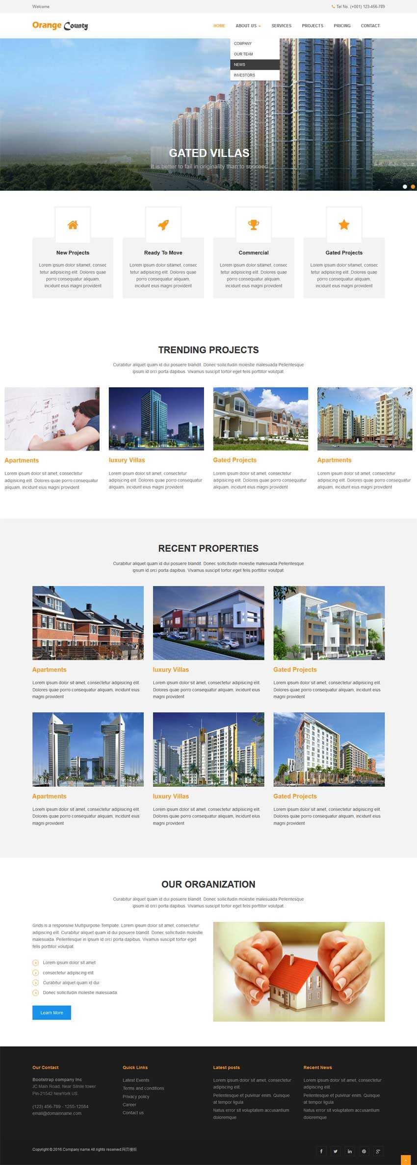 简洁大气的房地产建筑公司网站模板html整站