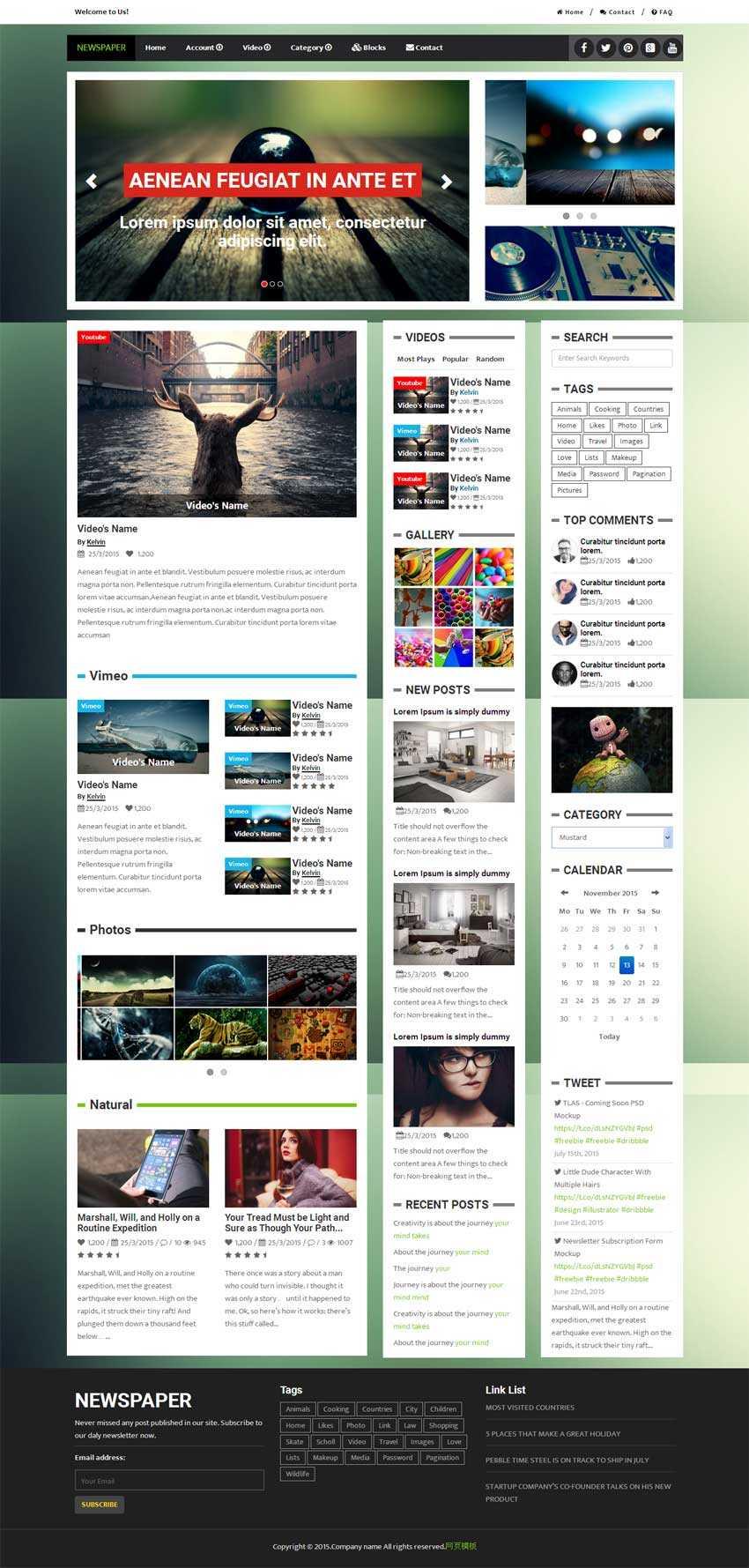 html5 css3国外新闻视频博客网站响应式模板