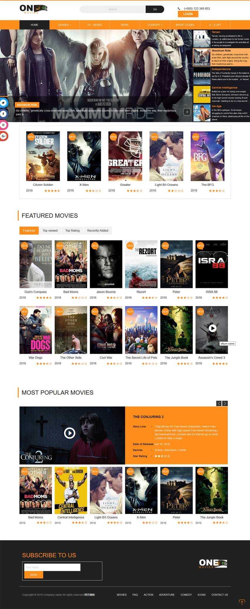 橙色的国外电影视频网站响应式模板html源码