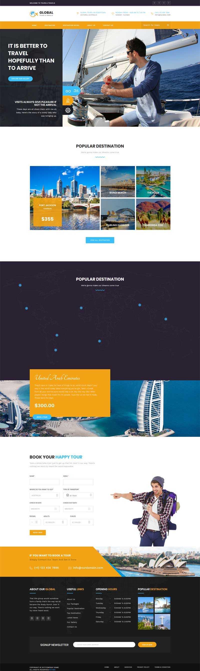 黄色响应式的旅游服务指南网站模板