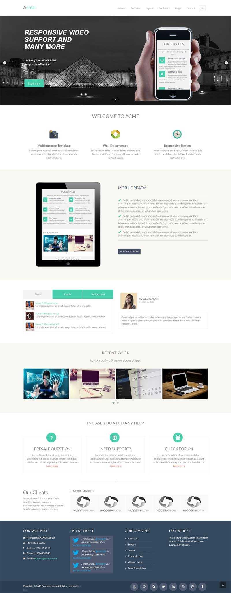 白色简洁的网络建站公司网站html5模板
