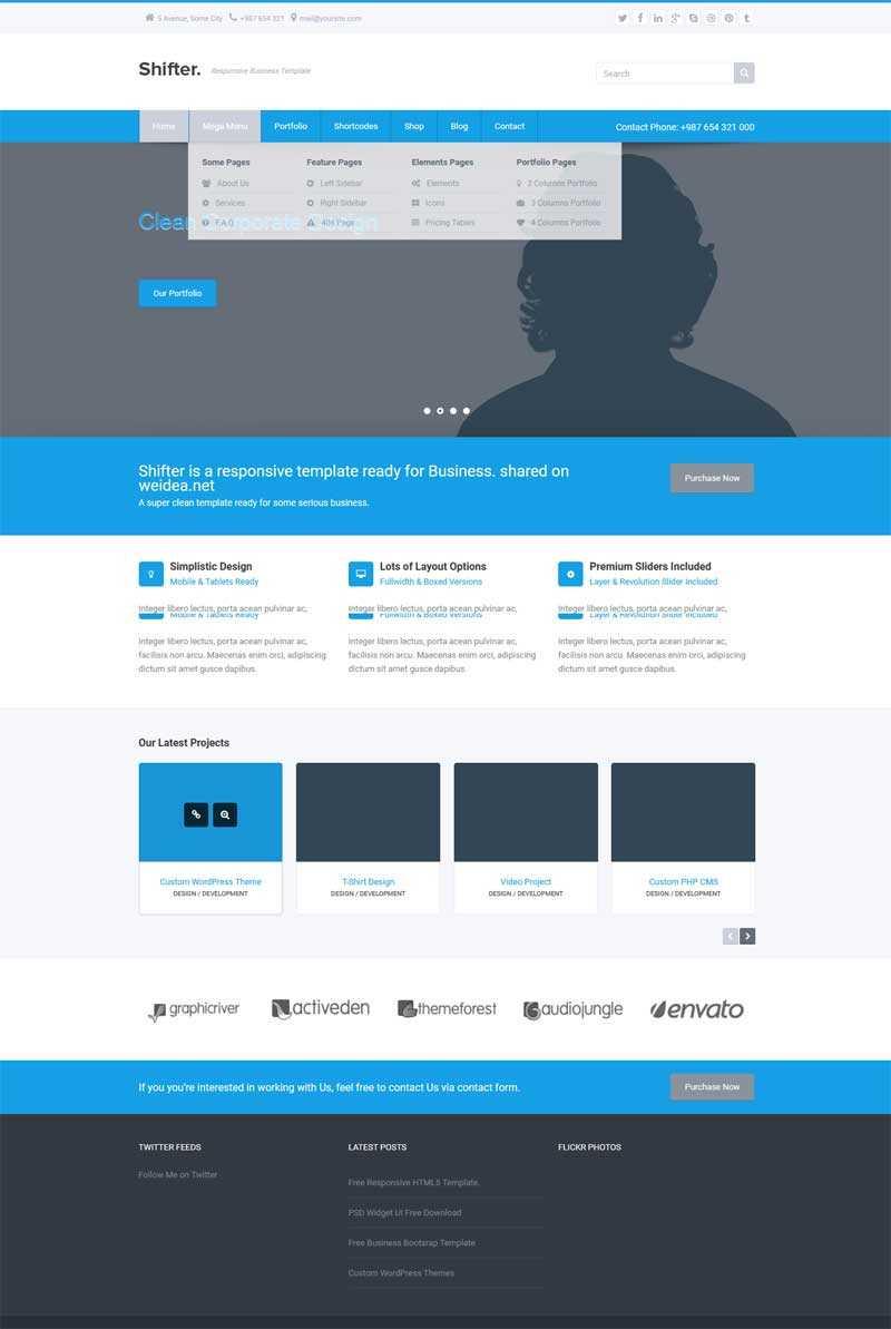 蓝色通用的商业咨询公司网站响应式模板