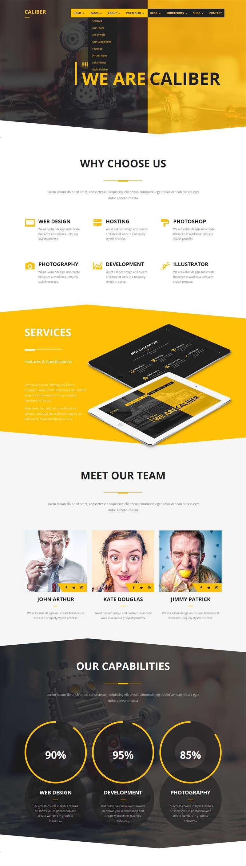 黄色大气的平面广告设计公司bootstrap响应式模板