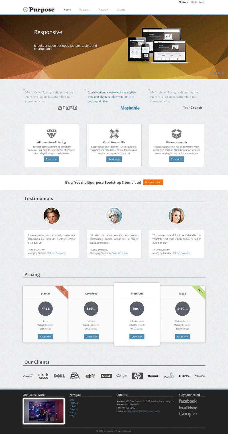 简洁的广告公司Bootstrap响应式企业站模板