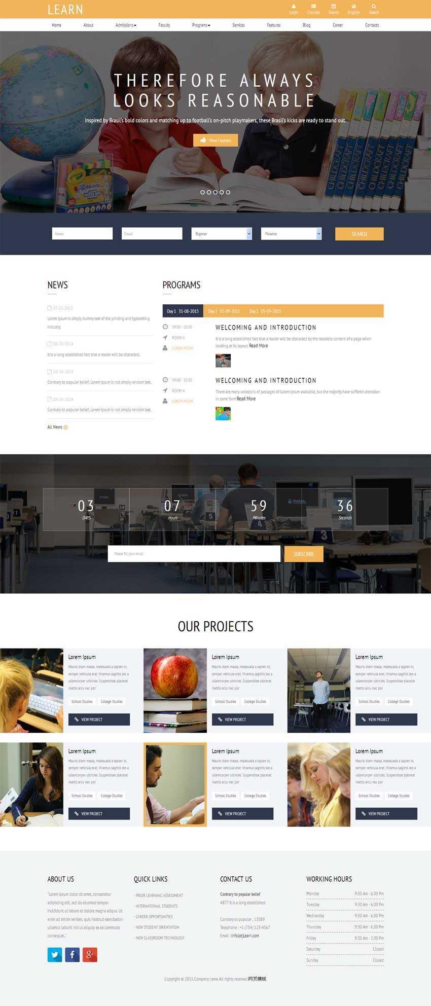 黄色bootstrap学生教育培训网站模板html整站下载