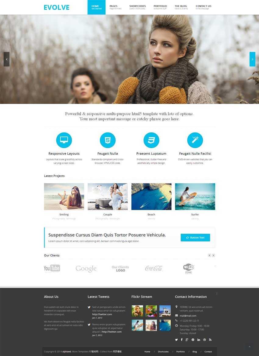 蓝色简洁的html5企业博客响应式模板