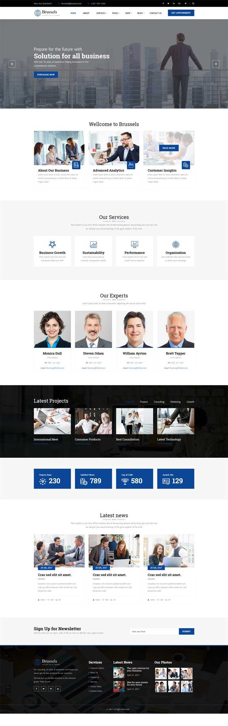 蓝色响应式的商业咨询服务公司网站模板