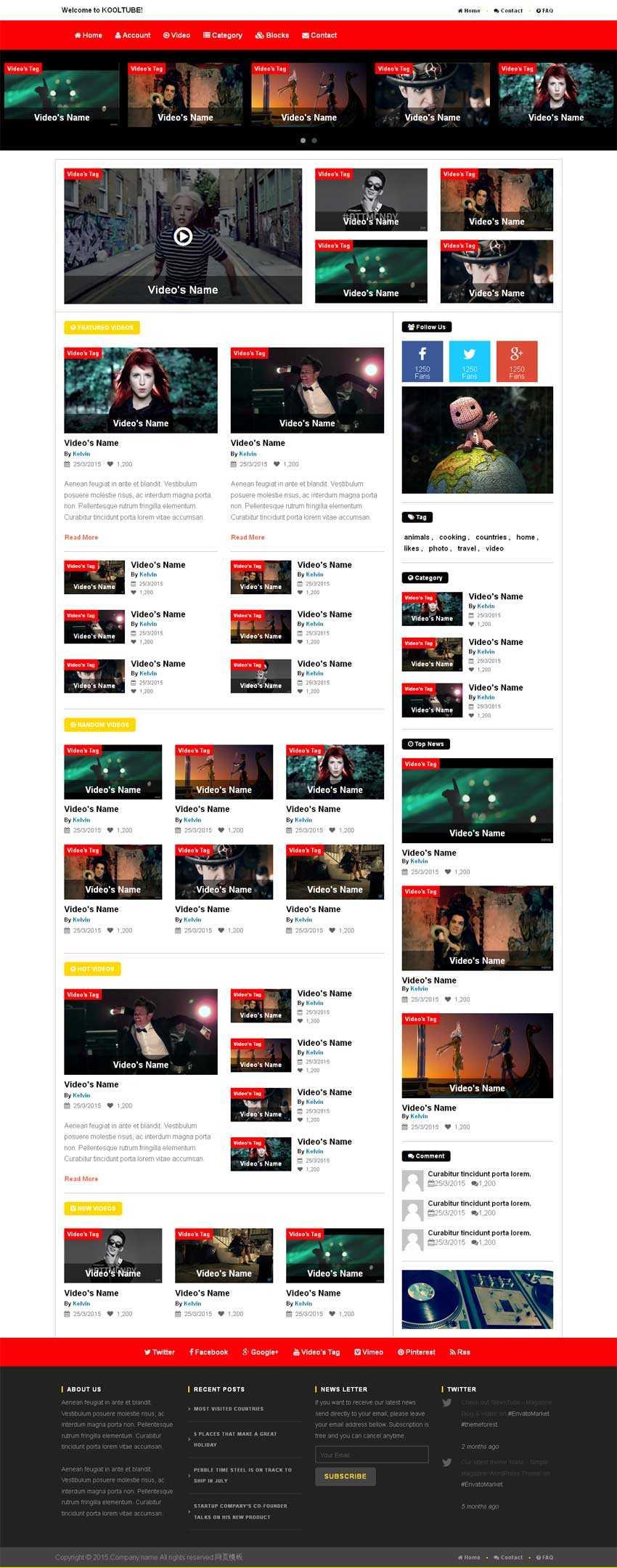 html5 css3红色国外娱乐视频网站模板源码