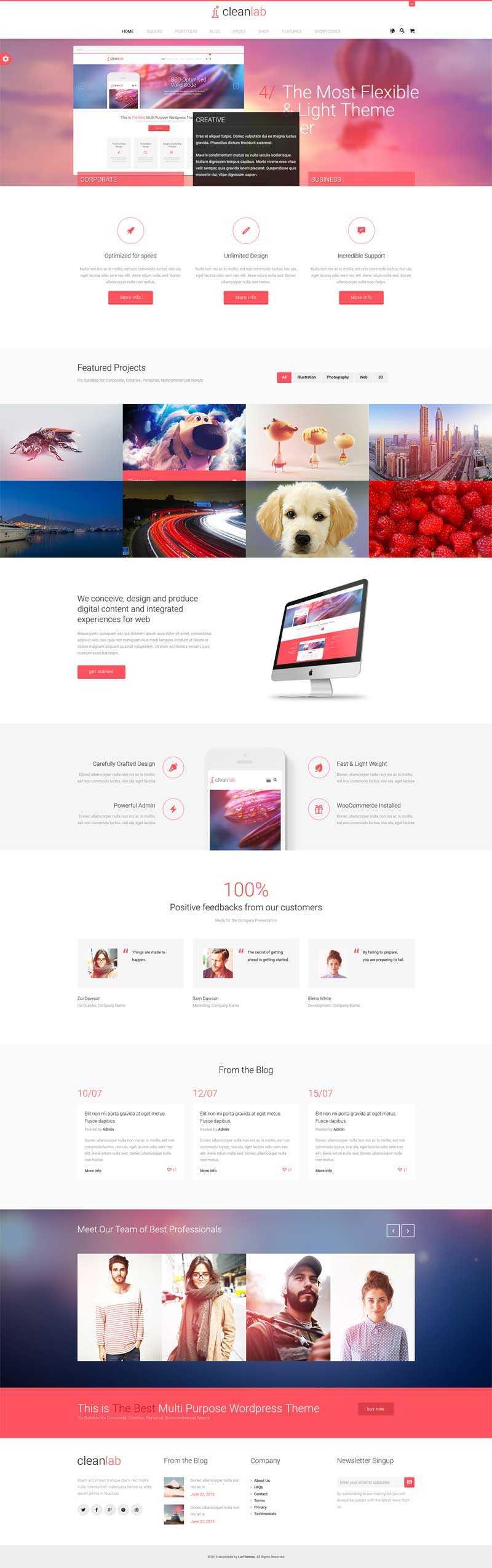 红色的广告设计公司展示html5响应式模板