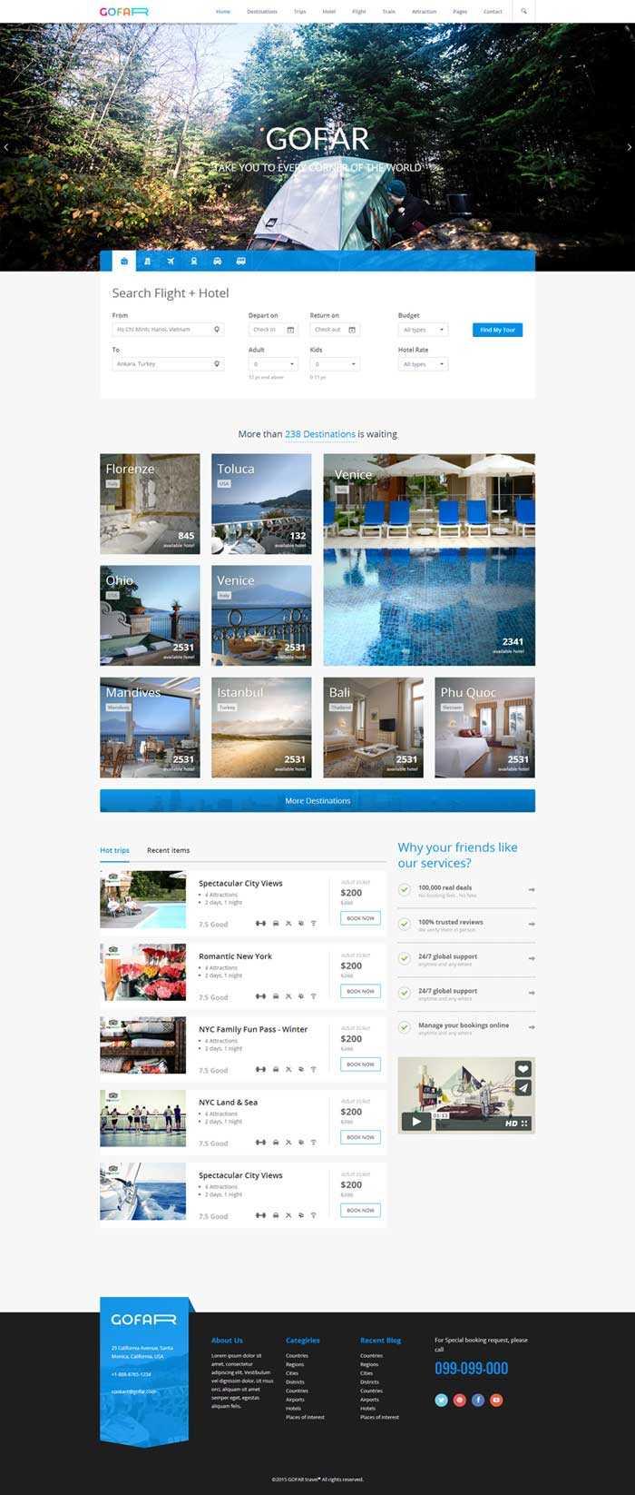 蓝色在线旅行服务公司网站响应式模板