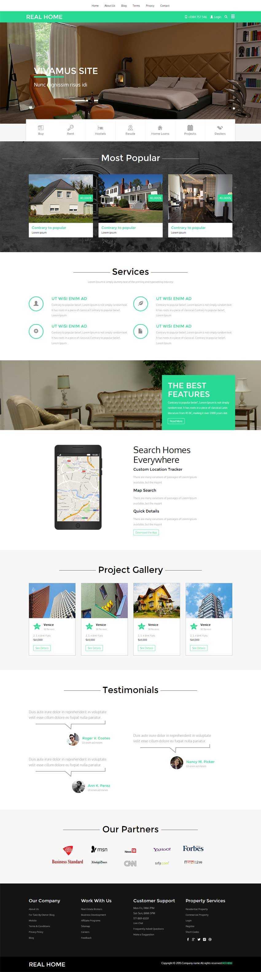 绿色的响应式房屋买卖网站bootstrap模板下载