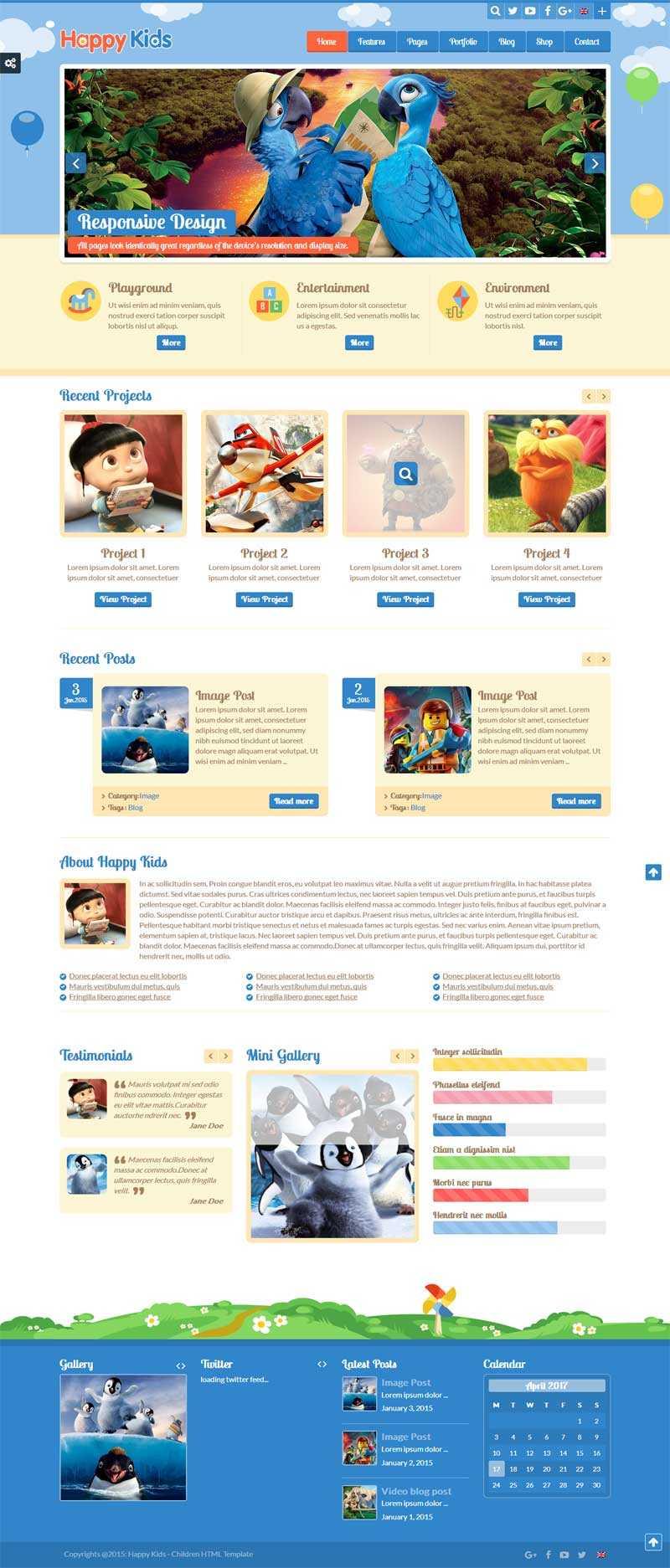卡通风格的儿童教育网站响应式模板