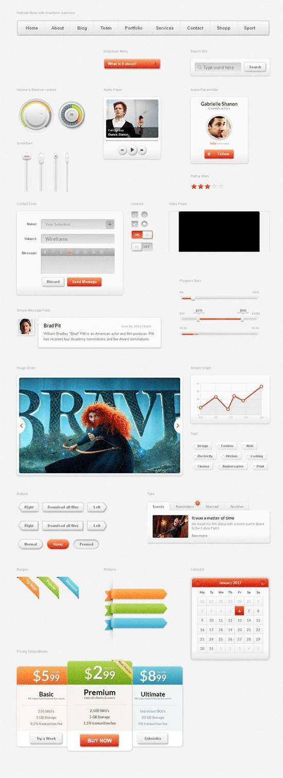 简洁大气的bootstrap视频社交网站ui设计模板