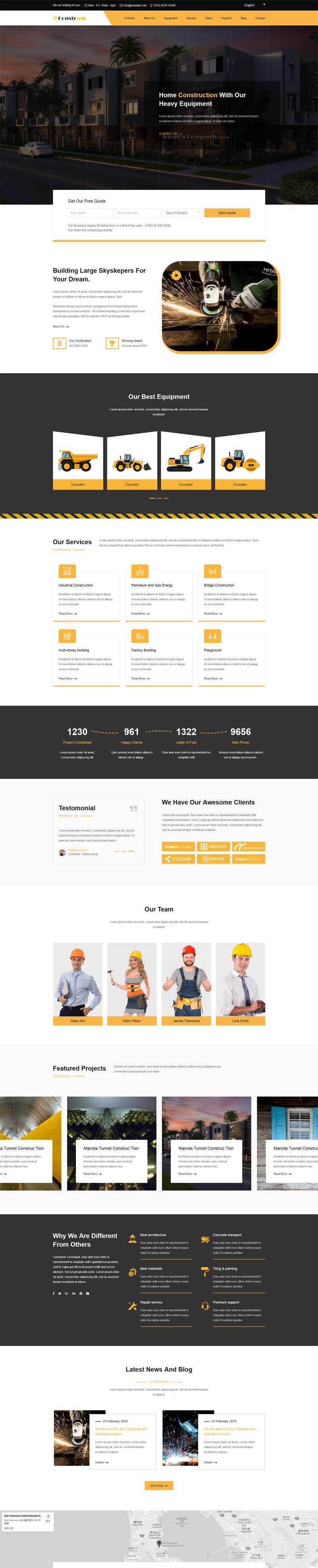 黄色的建筑工业企业html单页模板