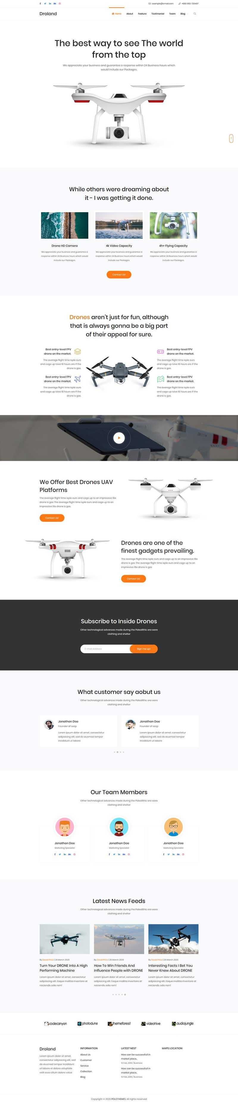 无人机监控介绍官网单页模板