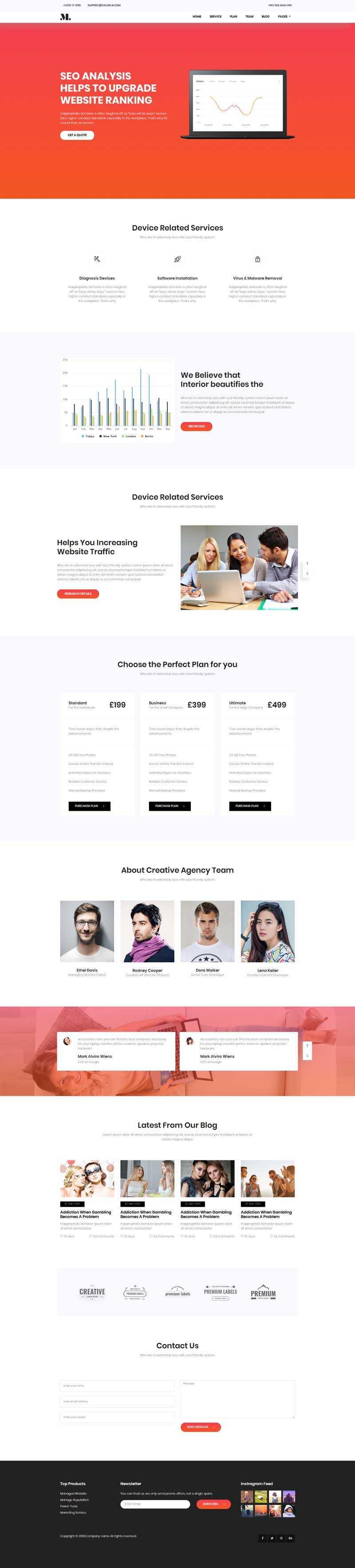 简洁的seo优化服务介绍企业单页模板