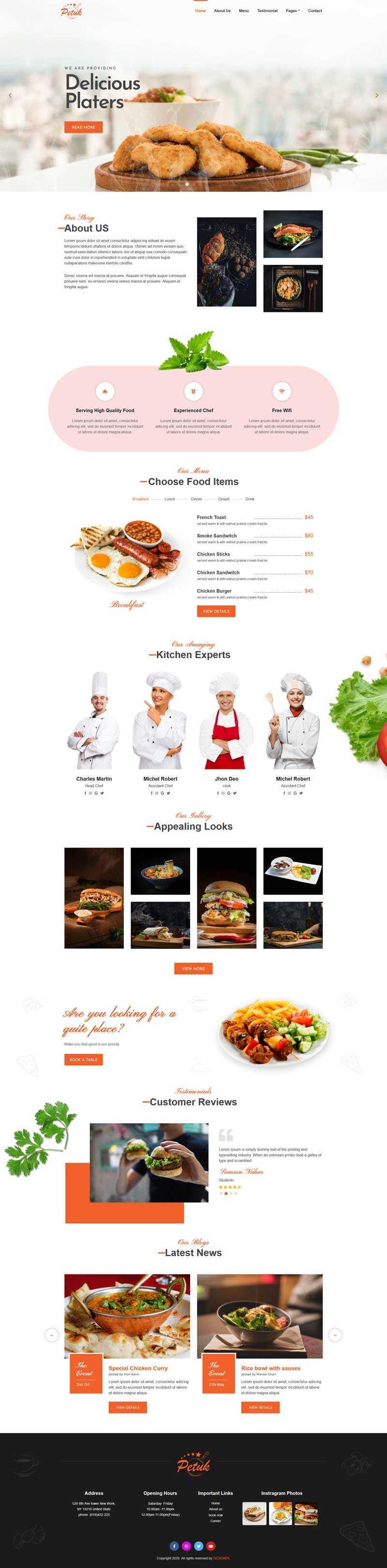 多用途的餐饮店铺主页html5模板