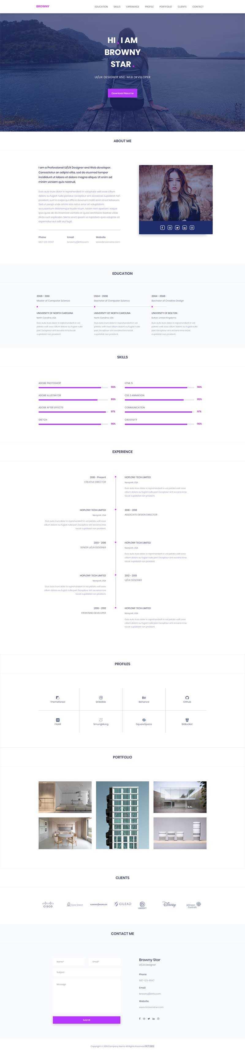 紫色的设计师个人网页简历html5模板