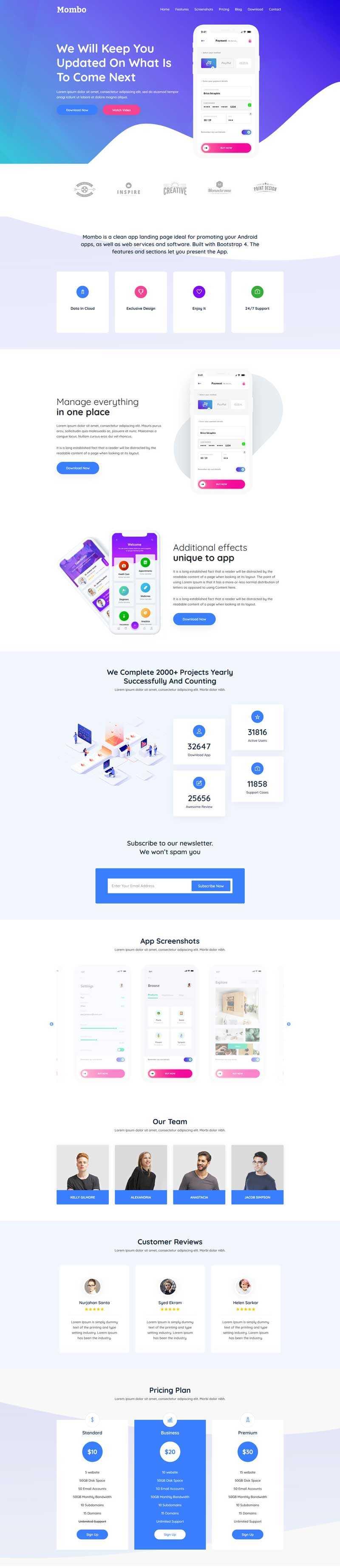 多用途app软件介绍单页模板